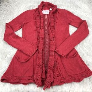 Angels of the North Open Knit Open Front Cardigan